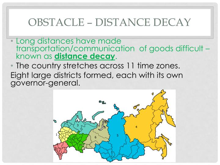 Obstacle – distance decay