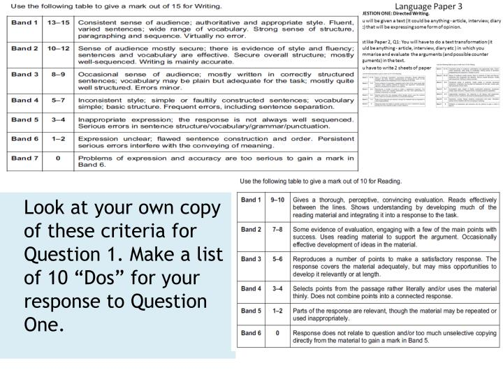 """Look at your own copy of these criteria for Question 1. Make a list of 10 """"Dos"""" for your response to Question One."""