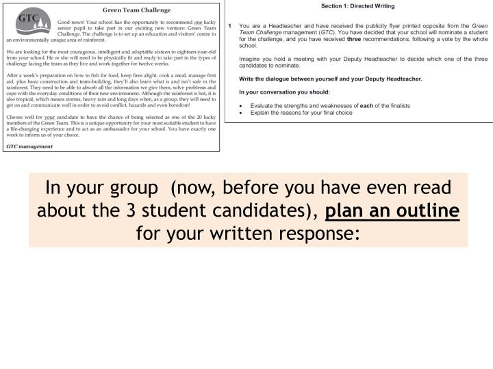 In your group  (now, before you have even read about the 3 student candidates),
