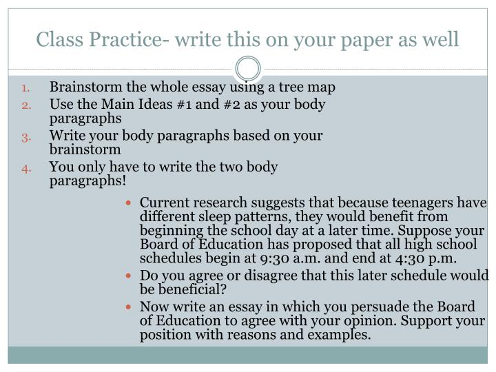 Class Practice- write this on your paper as well