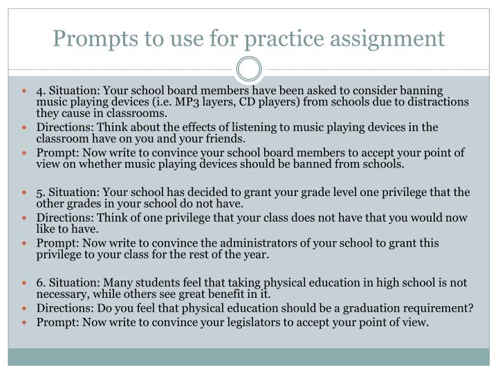 Prompts to use for practice assignment