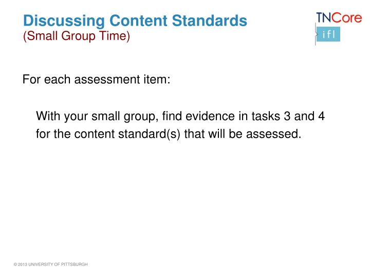 Discussing Content Standards