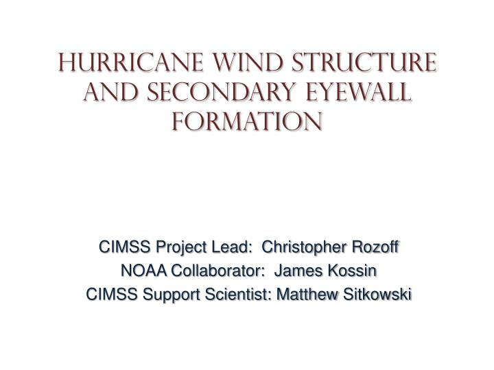 Hurricane wind structure and secondary eyewall formation