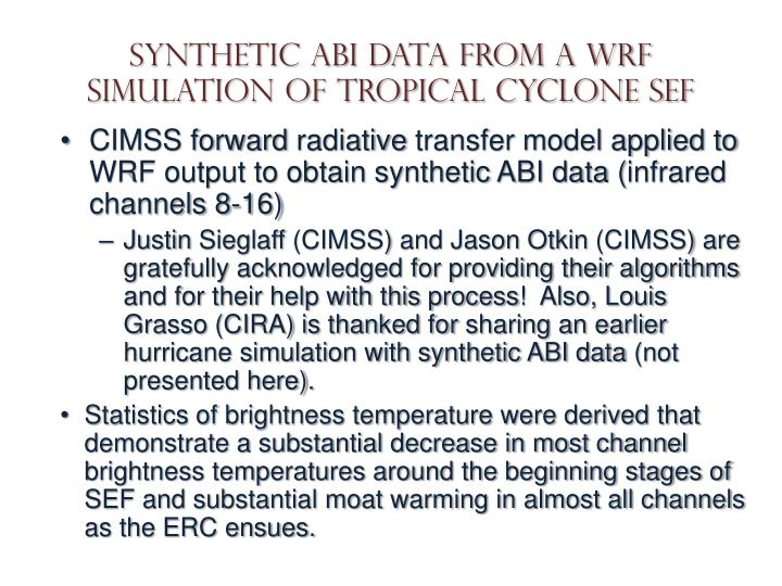 Synthetic ABI data from a WRF simulation of tropical cyclone SEF