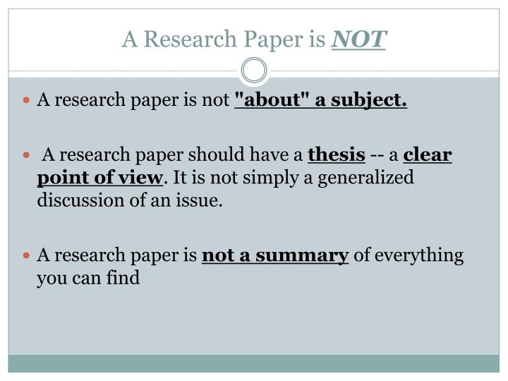 A research paper is not