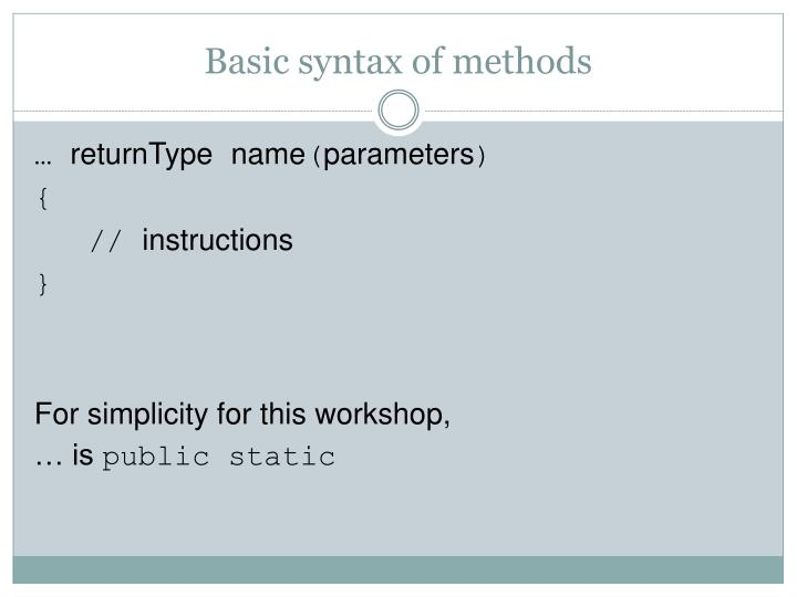 Basic syntax of methods
