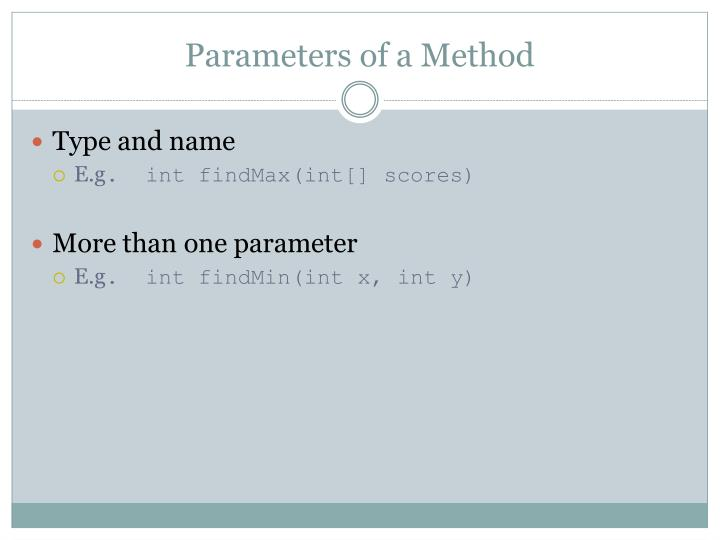 Parameters of a Method
