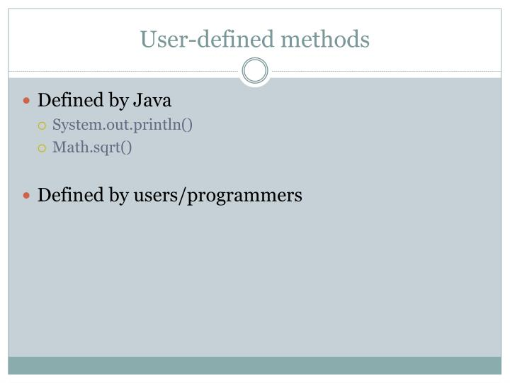 User-defined methods