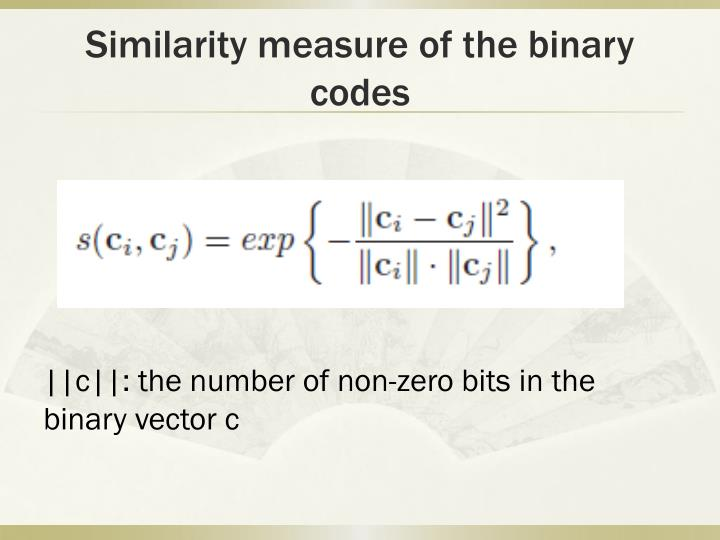 Similarity measure of the binary codes