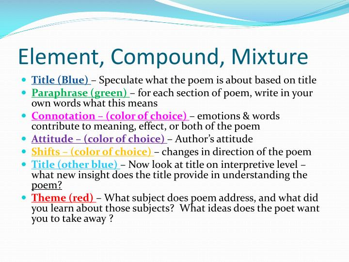 Element compound mixture