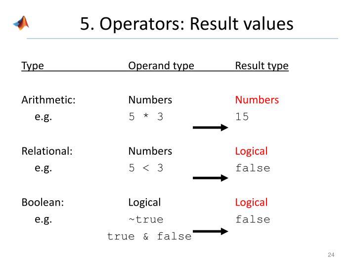5. Operators: