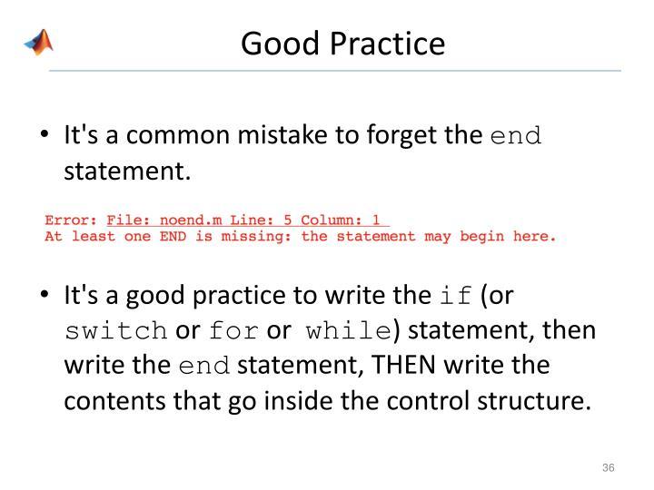 Good Practice