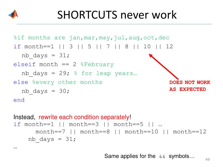 SHORTCUTS never work