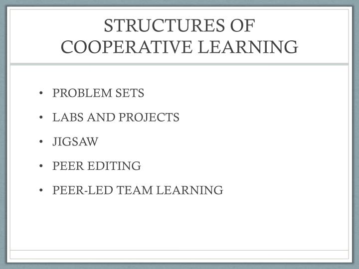 STRUCTURES OF COOPERATIVE LEARNING