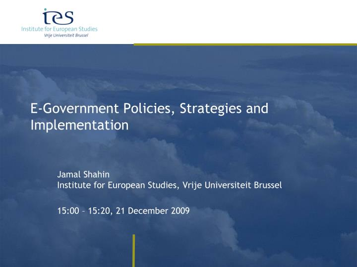 E government policies strategies and implementation