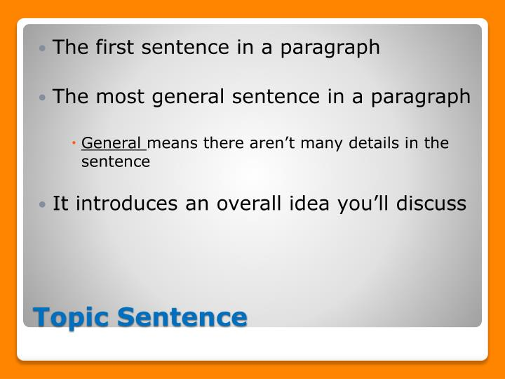 paragraph with implied topic sentence