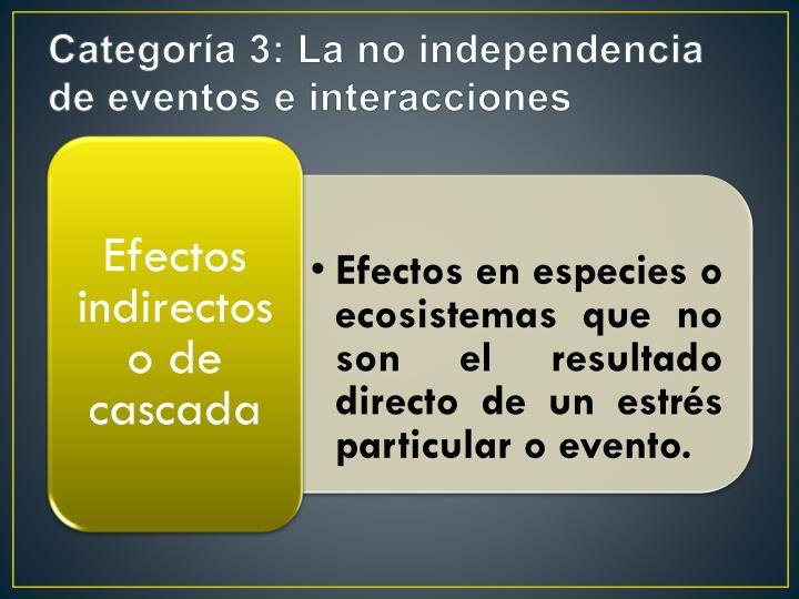 Categoría 3: La no independencia de eventos e interacciones