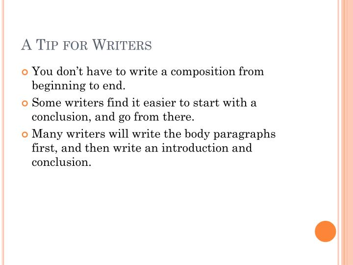 A Tip for Writers
