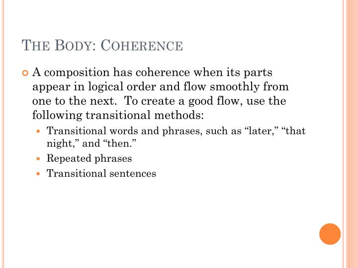 The Body: Coherence
