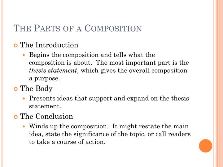 The parts of a composition
