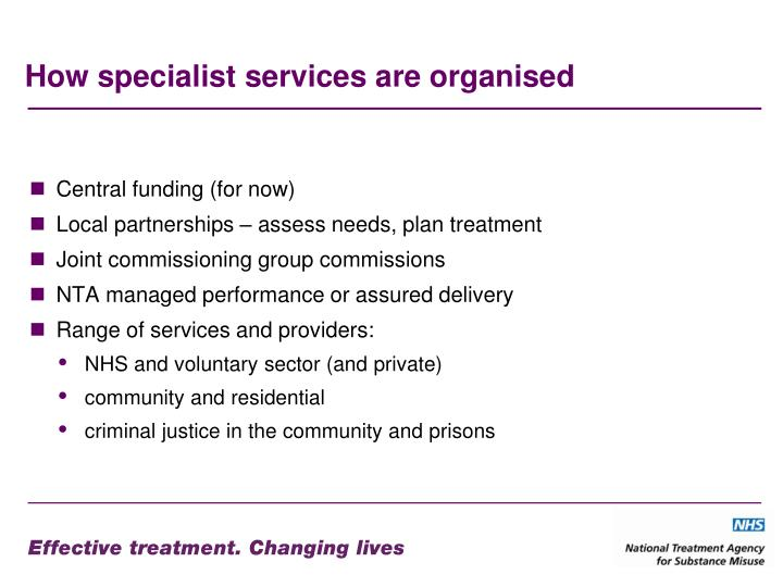 How specialist services are organised