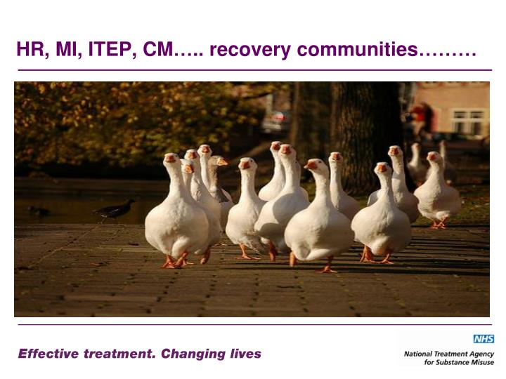HR, MI, ITEP, CM….. recovery communities………