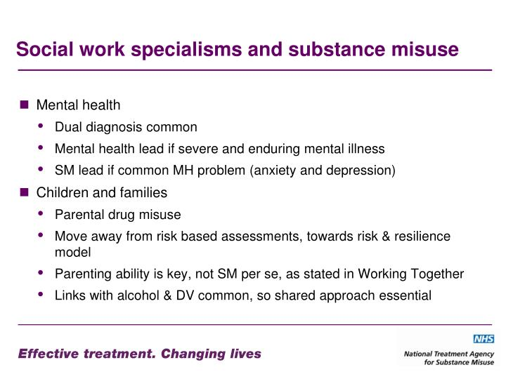 Social work specialisms and substance misuse