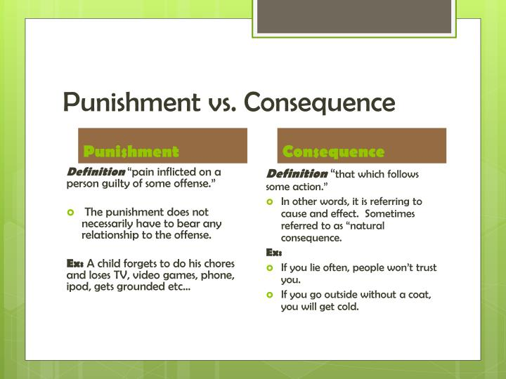 Punishment vs. Consequence