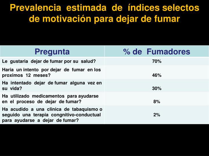 Prevalencia  estimada  de  índices selectos  de motivación para dejar de fumar