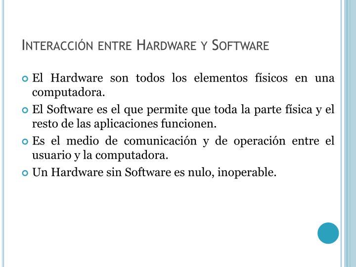 Interacción entre Hardware y Software