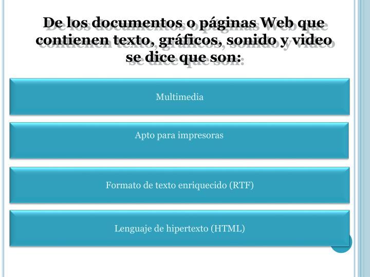 De los documentos o páginas Web que contienen texto, gráficos, sonido y video se dice que son: