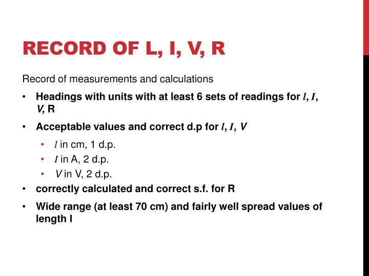 Record of L, I, v, r