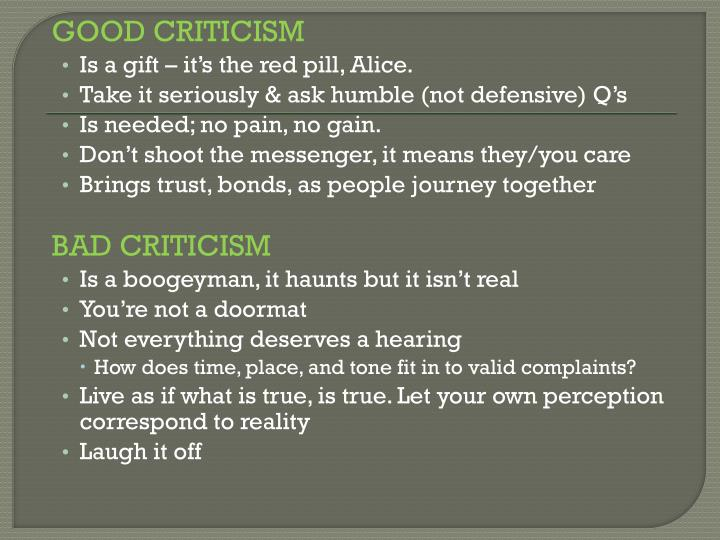 GOOD CRITICISM