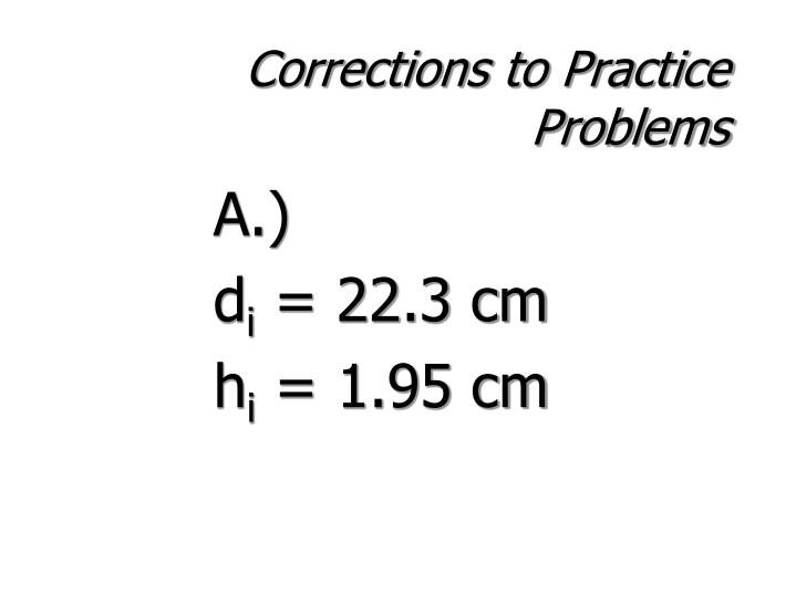 Corrections to Practice Problems