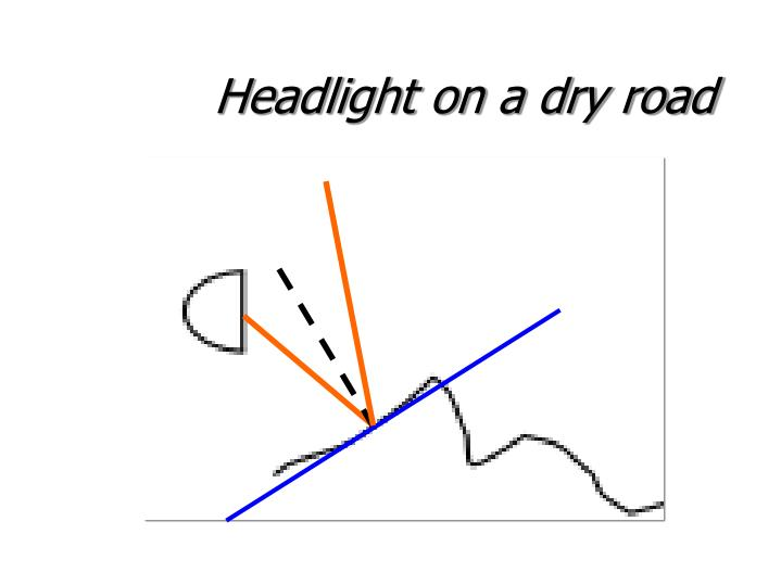 Headlight on a dry road