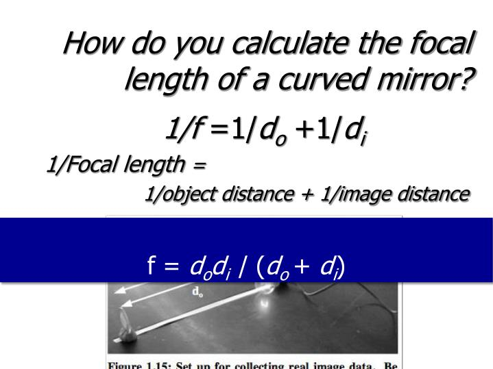How do you calculate the focal length of a curved mirror?