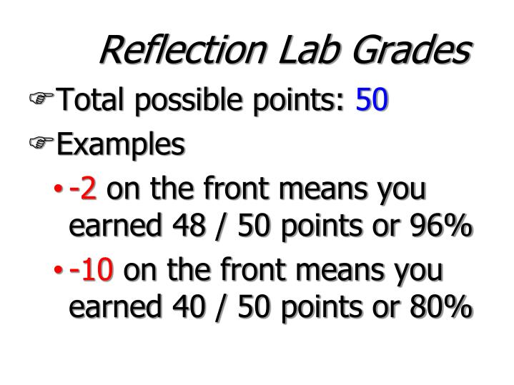 Reflection Lab Grades