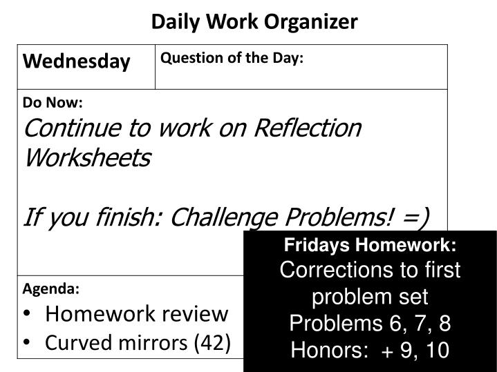 Daily Work Organizer