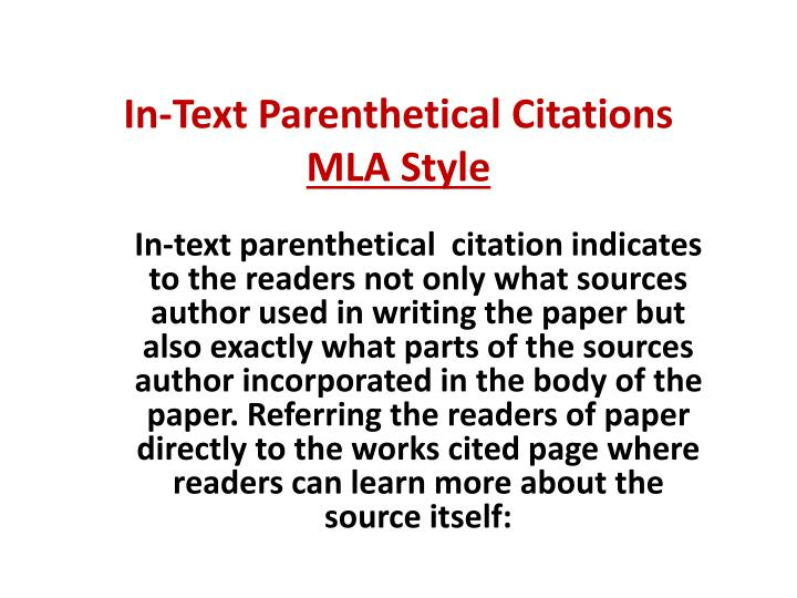 In text parenthetical citations mla style