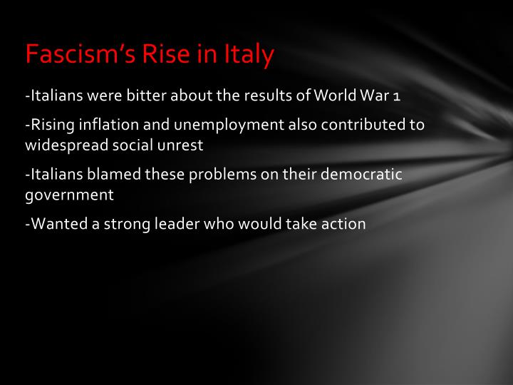 Fascism s rise in italy