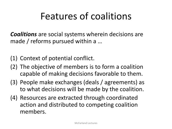 Features of coalitions