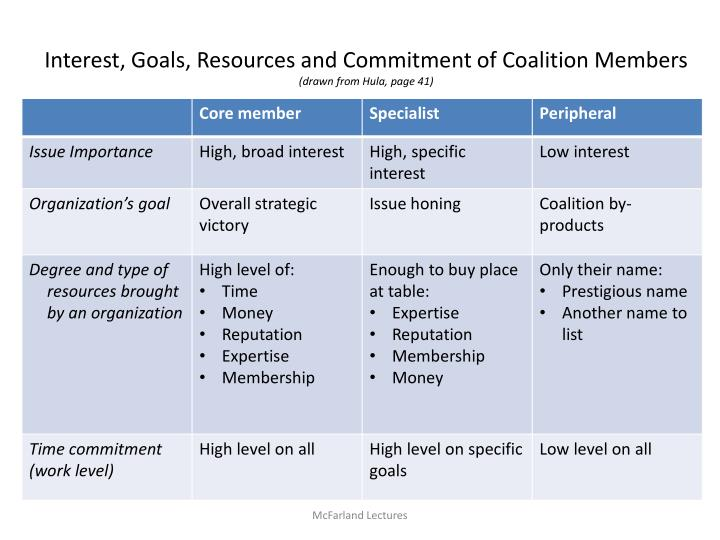 Interest, Goals, Resources and Commitment of Coalition Members