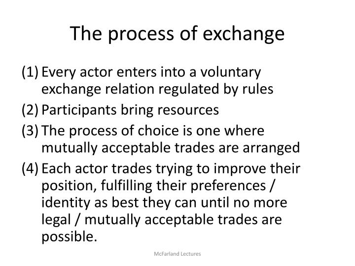 The process of exchange