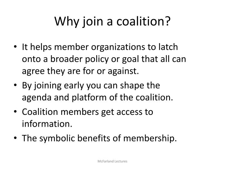 Why join a coalition?