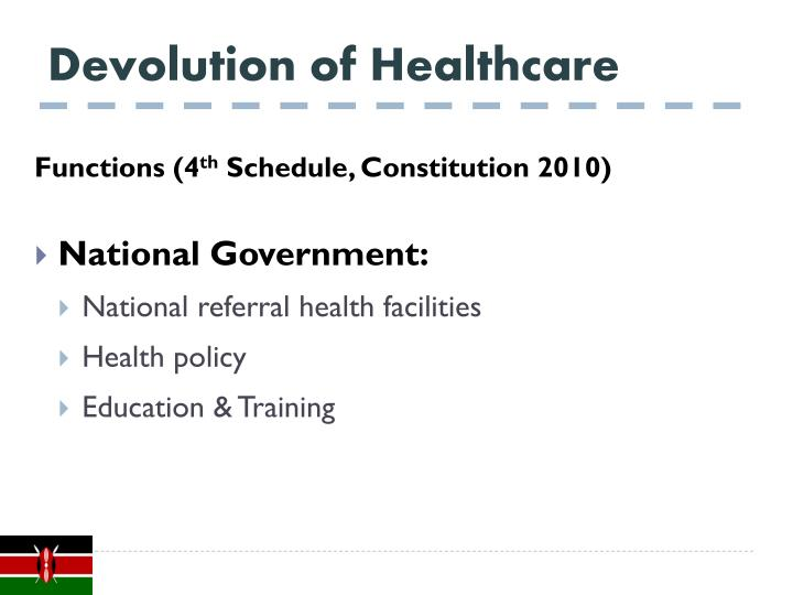 Devolution of Healthcare