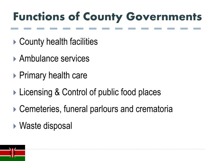 Functions of County Governments