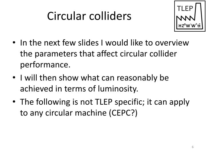Circular colliders