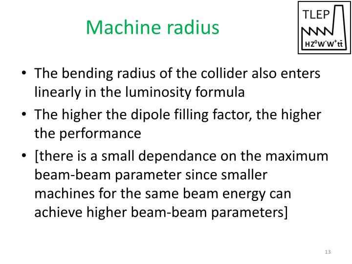 Machine radius