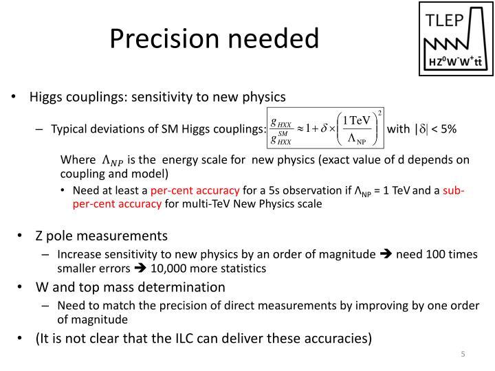 Precision needed
