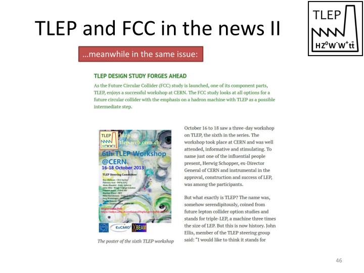 TLEP and FCC in the news II
